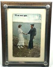 Vintage Picture Frame Wood & Silver Metal Corner Tacks Cardboard Easel Back 8�