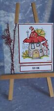 HANDMADE CARD. NEW HOME. HOME SWEET HOME. CONGRATULATIONS. FAIRY HOUSE