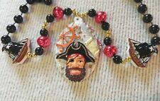 Pirate & Ships Medallion Beads Necklace Mardi Gras Beard Black Beads Gasparilla