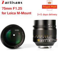 DHL 7artisans 75mm F1.25 Manual Focus Lens for Leica M-Mount Cameras Leica M2 M3