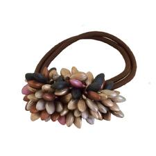 Rhinestone Crystals Pearls Hair Ponytail Holder Band - Gold Brown