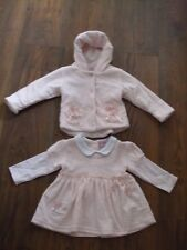 BNWT Baby Girls 3 - 6 Months Pink White Dress + Jacket SUMMER HOODED POCKETS