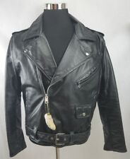 Montgomery Ward Mens Jacket Black Leather  50s Motorcycle Lucky Rabbits Foot L