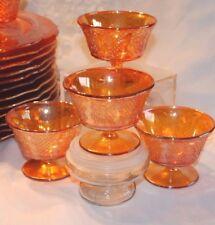 FEDERAL NORMANDIE CARNIVAL MARIGOLD GLASS ORANGE LOT 4  DESSERT SHERBET CUPS