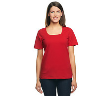Denim & Co. Essentials Perfect Jersey Short Sleeve Square Neck Top Apple Red 1X