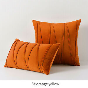 Velvet Throw Pillow cover 12x20/18x18,Solid color stripes Sofa Car Cushion Cover