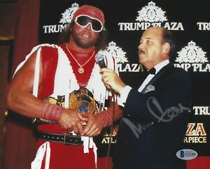 Mean Gene Okerlund Signed Signed WWE 8x10 Photo BAS COA w Macho Man Randy Savage
