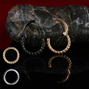 1,2mm Septum Clicker gedreht Segment Ring Scharnier Rose Gold Silber Helix twist