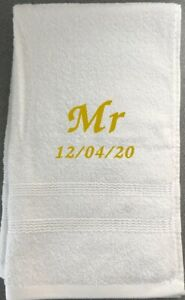 Mr / Mrs embroidered wedding date towel customised gift