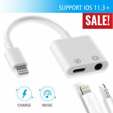 2 IN 1 Headphone Adapter Jack Lightning to 3.5mm AUX Cord Splitter For iPhone