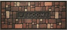 21 x 48 in. Welcome Door Mat Rock Wall Recycled Rubber Stain Resistant Surface