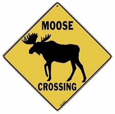 "MOOSE SILHOUETTE CROSSING Sign, 12"" by 12"" on sides-16"" on Diagonal-In/Out-Alum"