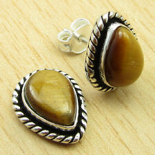 TIGER'S EYE Studs Earrings, Original Gemstone Silver Plated Jewelry 1/2 Inches