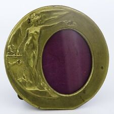 Vintage Antique Beautiful Lady Art Nouveau Stylized Brass Photo Frame