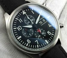 PARNIS AVIATOR MILITARY CHRONOGRAPH RED UHR OROLOGIO MONTRE WATCH