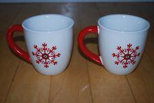 Longaberger Christmas Snowflakes Coffee Mugs Red Handle