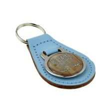 Light Blue Bonded Leather & Metal Keyring Awesome Uncle Looks Like Fathers Day
