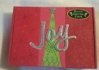 "C.R. Gibson 12 Count Boxed Christmas Cards, ""JOY"" 6 3/4"" X 4 3/4"" NICE"