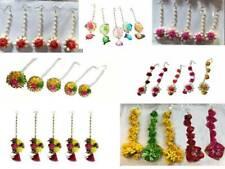 Artificial Flower Jewelry Mang Tikka Set Wedding Floral Bridal Indian 5 Pcs Set