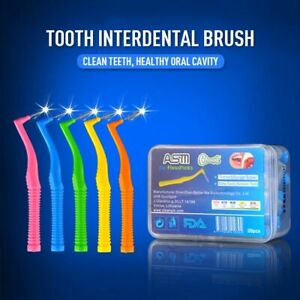 20pcs Adults Interdental Tooth Brush Push Pull Toothpick L Shape 0.6-1.5mm Oral