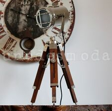 Chrome Tripod Nautical Lamp Spot Light Rustic Hand Made Table Bedside vintage