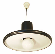 "Small 19"" Pendant Ceiling Light LITA Mid Century Black Fog Morup Industrial 1960"