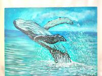 "Original Acrylic Painting  9""x12"" Canvas Panel, Humpback Whale  Home Decor Art"