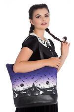 Bag Haunt Haunted Tote  Large Halloween Bats Purple Black BOHO