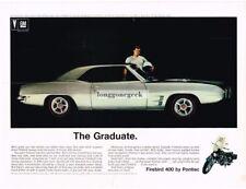 1969 Pontiac Silver Firebird 400 Vtg Print Ad