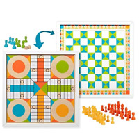Melissa & Doug Double-Sided Wooden Chess & Pachisi Board Game with 42 Game Piece