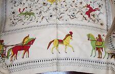 Vintage P.W.PEASE 100% SILK Scarf.HORSES.HENS,DEERS.FLOWERS,ROMAN HORSE CARS