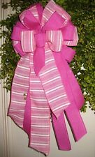 Pink Wired Bow Floral Door Wreath, Swag, Garland, Fence Post # 30 fl