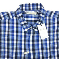RM Williams Mens Long Sleeve Button Down Collins Shirt Blue Check Size 4XB NEW