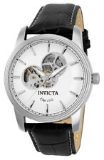 Invicta Objet d' Art 22616 Men's Round Off White Automatic Black Leather Watch