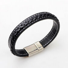 Men Bracelet Wristband Leather Stainless Steel Cuff Braided Bangle