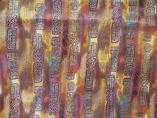 WTW  Fabric Horizons Kaufman Kahn 3615 Metallic Tribal Pattern BTY Quilt