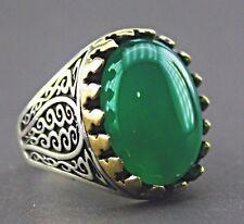 Sterling silver and bronze men ring,jade stone  handmade