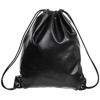 Durable Women Leather Drawstring Backpack Shoulder Bag Satchel Travel School Bag
