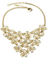 Amrita Singh Emily Floral Gold Crystal Large Statement Necklace NKC 1626 NWT