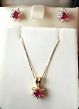 "NEW 14K Yellow Gold Round Ruby & Diamond Pendant & Earring Set w/18"" Box Chain"