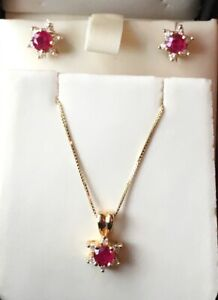 "NEW 14K Yellow Gold Round Ruby & Diamond Pendant & Earring Set w/18"" Box Chain"