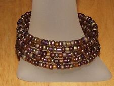 New! Mahogany Beaded Wrap / Coil Bracelet USA Made - Multi Brown Glass Bead Mix