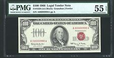 1966 $100 LEGAL TENDER NOTE FR-1550, LOW SERIAL NUMBER, CERTIFIED PMG-AU-55-EPQ