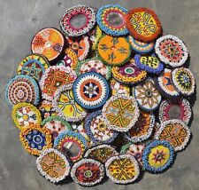 Vtg Kuchi Afghan Gypsy Banjara Tribal Beaded Medallions 10X Medium as per pics