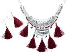 NEW Tassel Earrings Statement Necklace Set Bohemian Tribal Silver Bib Layered UK