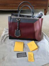 a4bb42fec0f4 Brand New Fendi Calfskin Leather 2jours Geometric Top Handle Bag