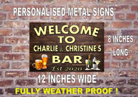 NEW! PERSONALISED LARGE METAL BAR SIGN PERFECT FOR BAR, SHED, CAVES ETC!! (B)