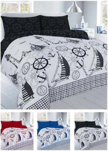 Jake Boat Reversible Duvet Cover Set with Pillowcase Children kids Bedding Set