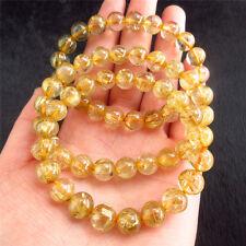 Natural Gold Hair Rutile Quartz Stretch Bracelet Round Beads Rutilated YS2