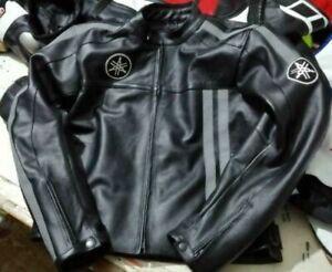 ''Yamaha'' Black Men Armour Protection Motorbike Racing Leather Jacket Full Zip